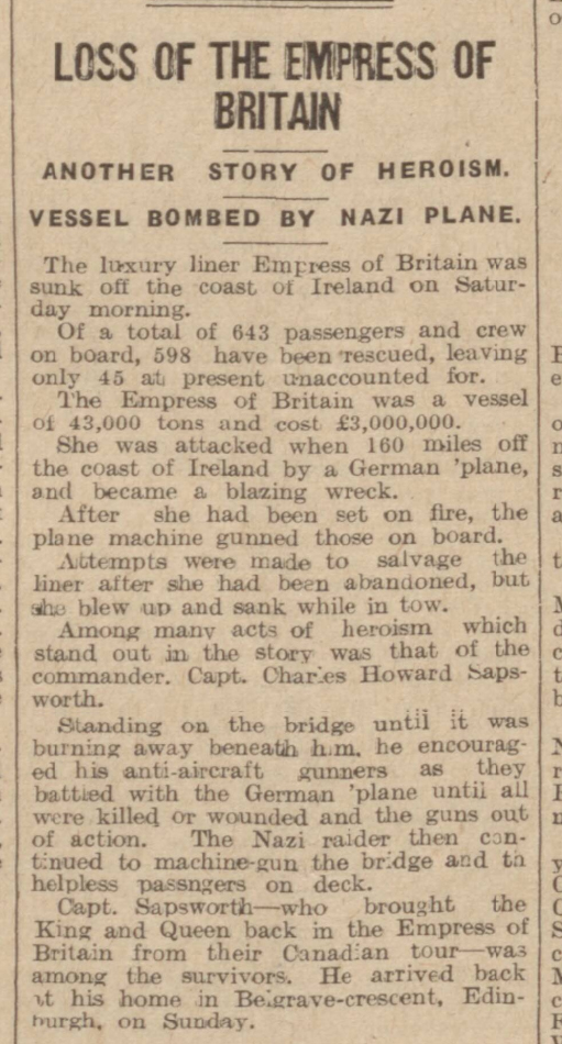 historical newspaper report about The Sinking of the Empress of Britain