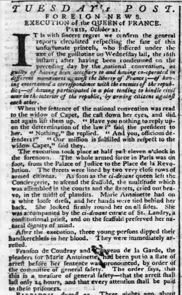 historical newspaper report on The Execution of Marie Antoinette