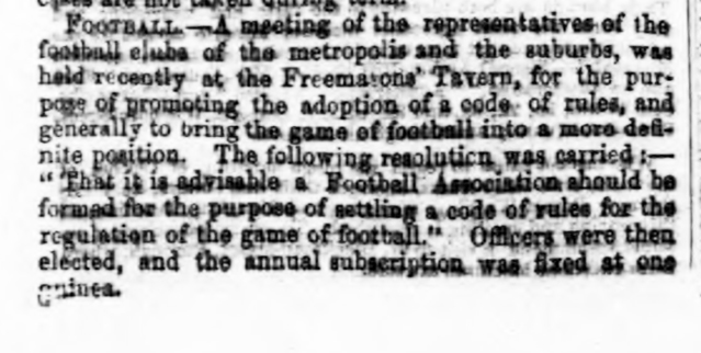historical newspaper report The Founding of the English Football Association