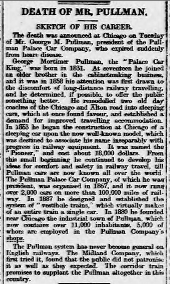 historical newspaper report about George Mortimer Pullman