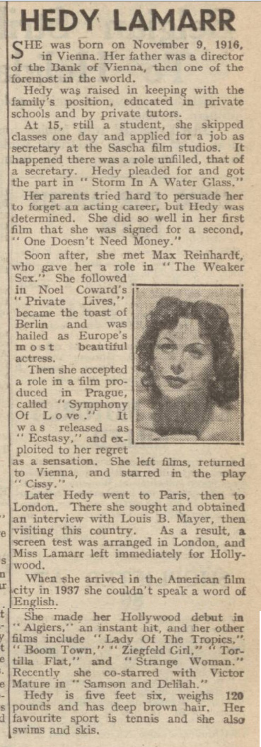 historical newspaper report on hedy lamarr