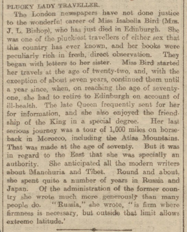 historical newspaper report about isabella bird