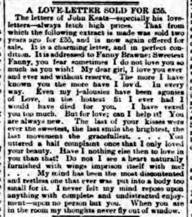historical newspaper report about john keats love letters