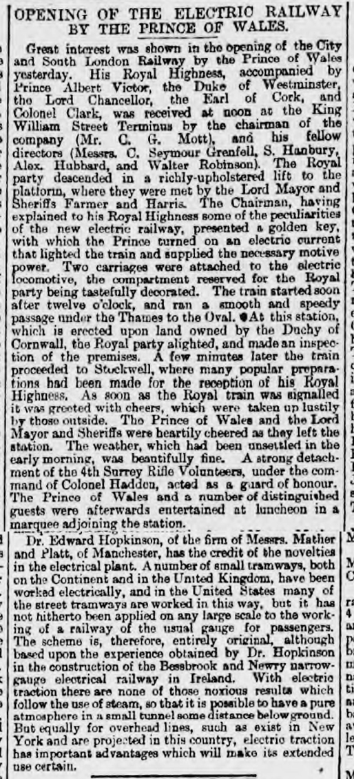historical newspaper report on Opening of the Electric Railway by the Prince of Wales