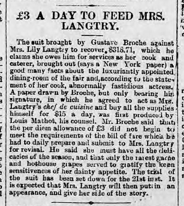 historical newspaper report on Lillie Langtry