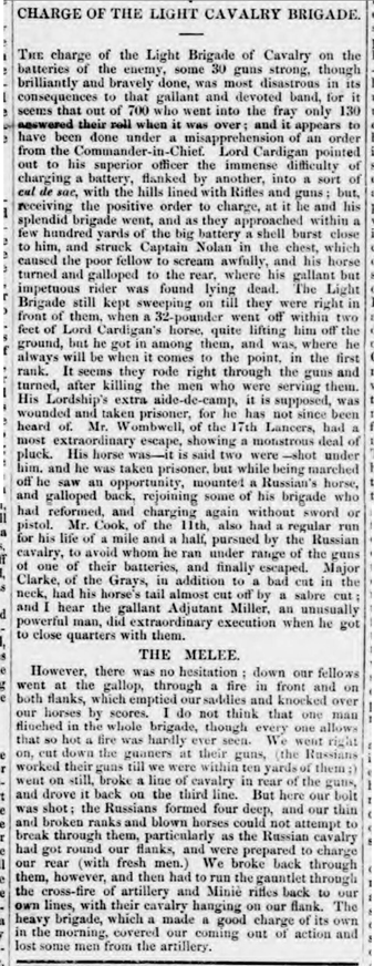 Historical newspaper article of the charge of the light brigade