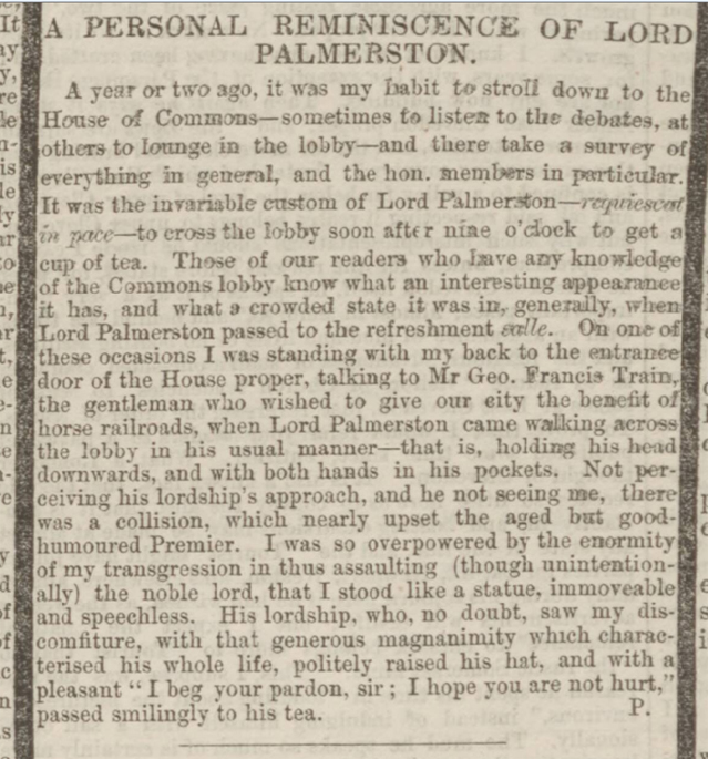 historical newspaper report about Lord Palmerston