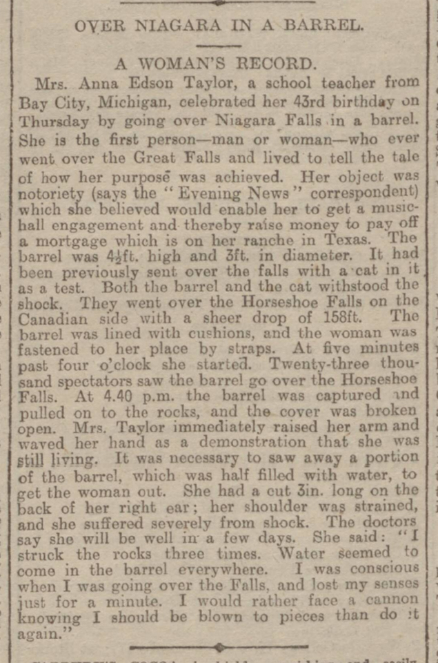historical newspaper report about Annie Edson Taylor