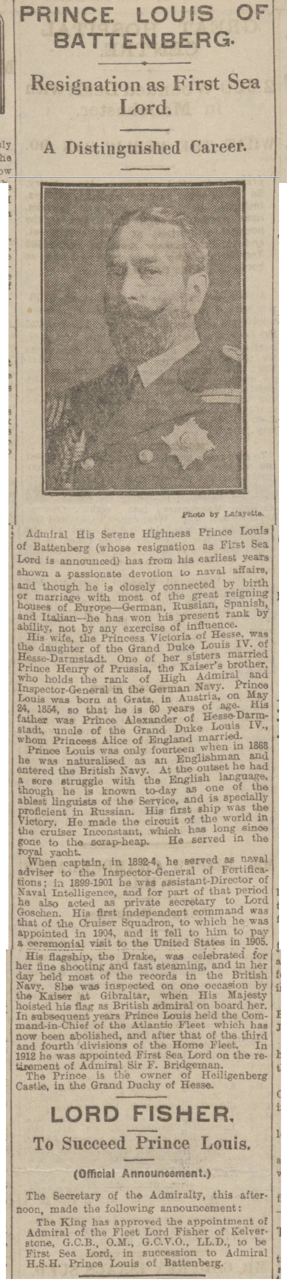 historical newspaper report about The Resignation of Prince Louis Alexander Mountbatten, First Sea Lord
