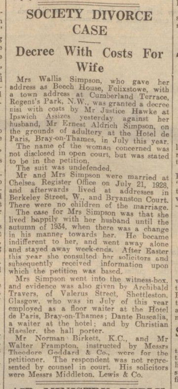 historical newspaper report on wallis simpson
