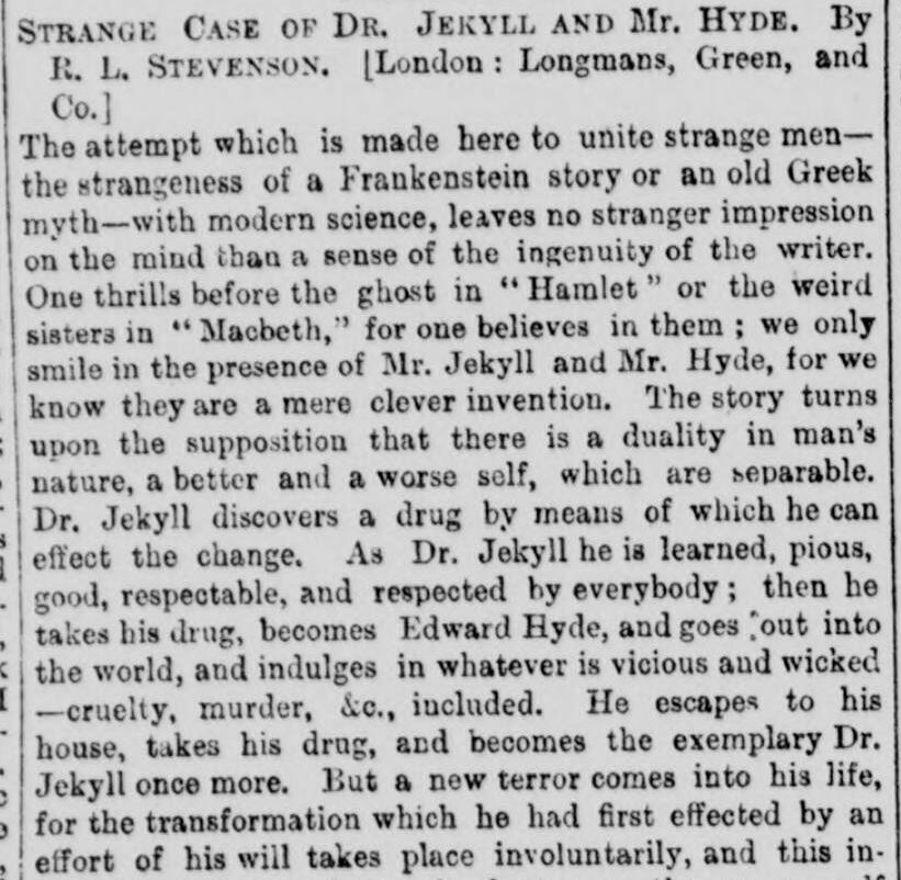 Review of Dr Jekyll and Mr Hyde