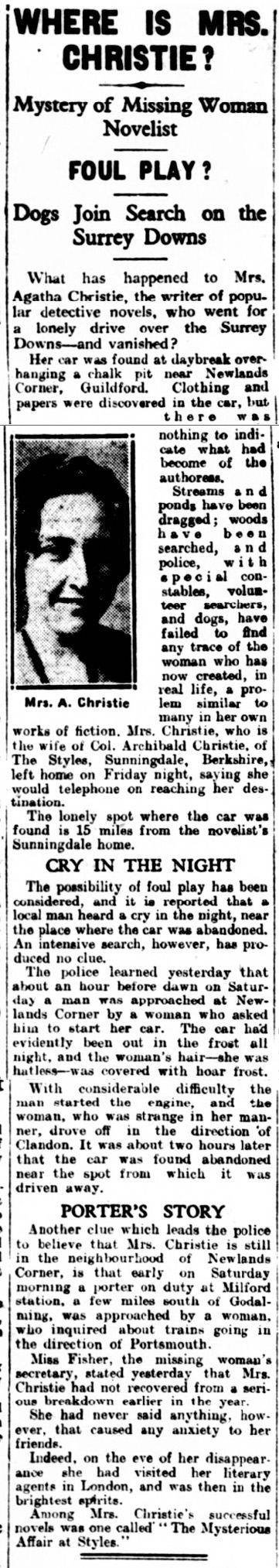 historical newspaper report on the Strange Disappearance of Agatha Christie