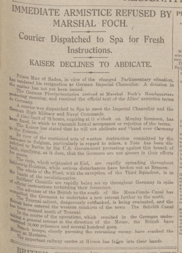 historical newspaper report on the 1918 armistice