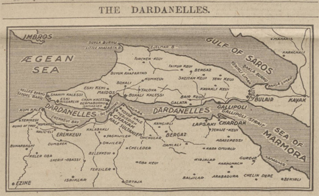 historical newspaper report on the dardanelles
