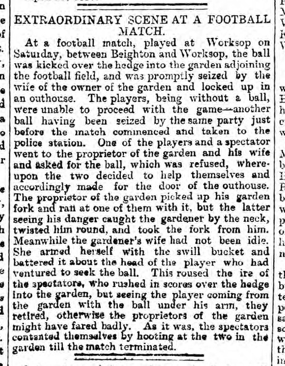 historical newspaper reports on Extraordinary Scene at a Football Match