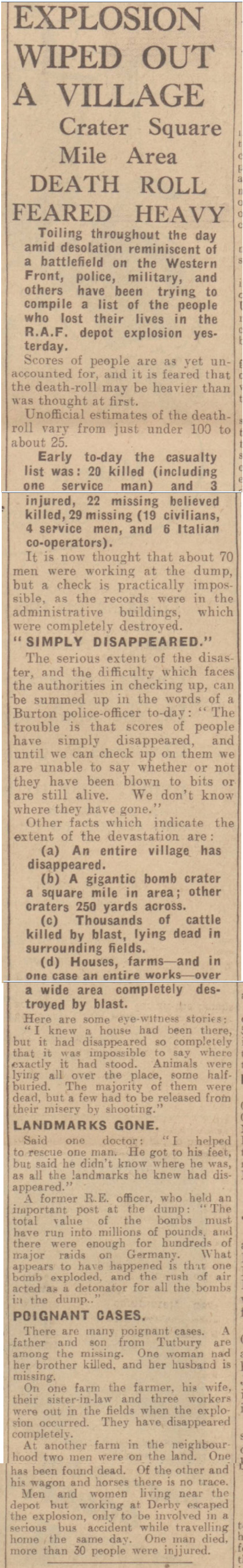 historical newspaper reports on Fauld Explosion