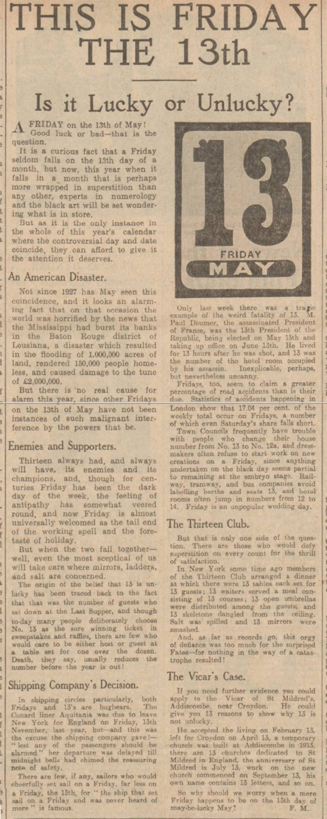 historical newspaper report on friday the 13th