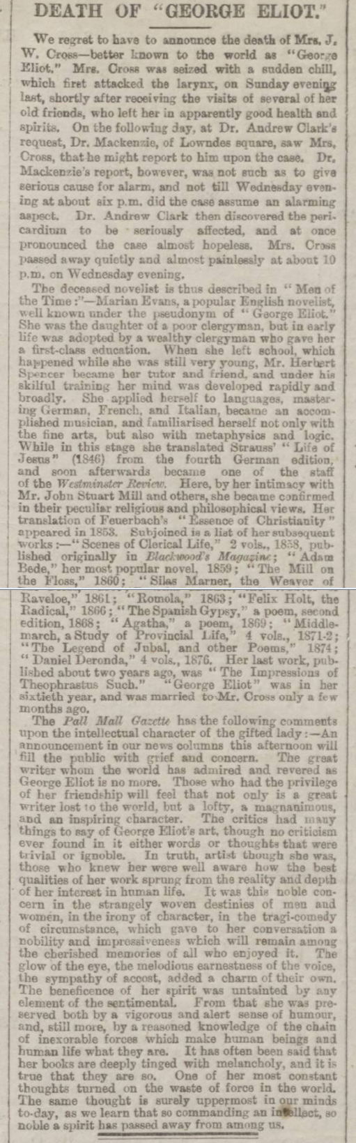 historical newspaper report on george eliot