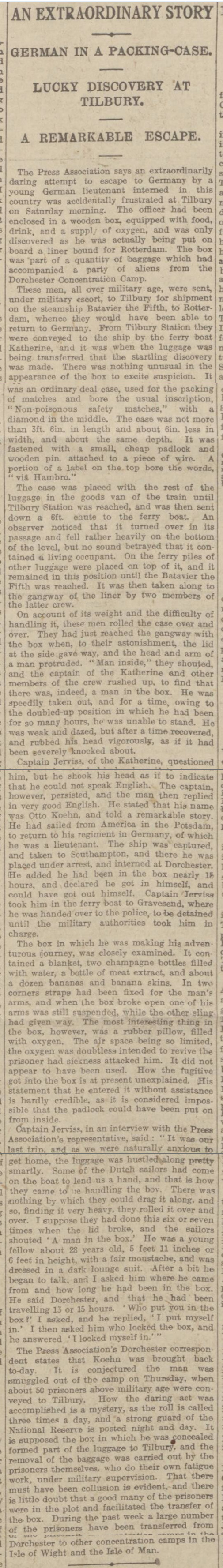 historical newspaper report on German POW in World War One Attempts to Escape in a Packing Case