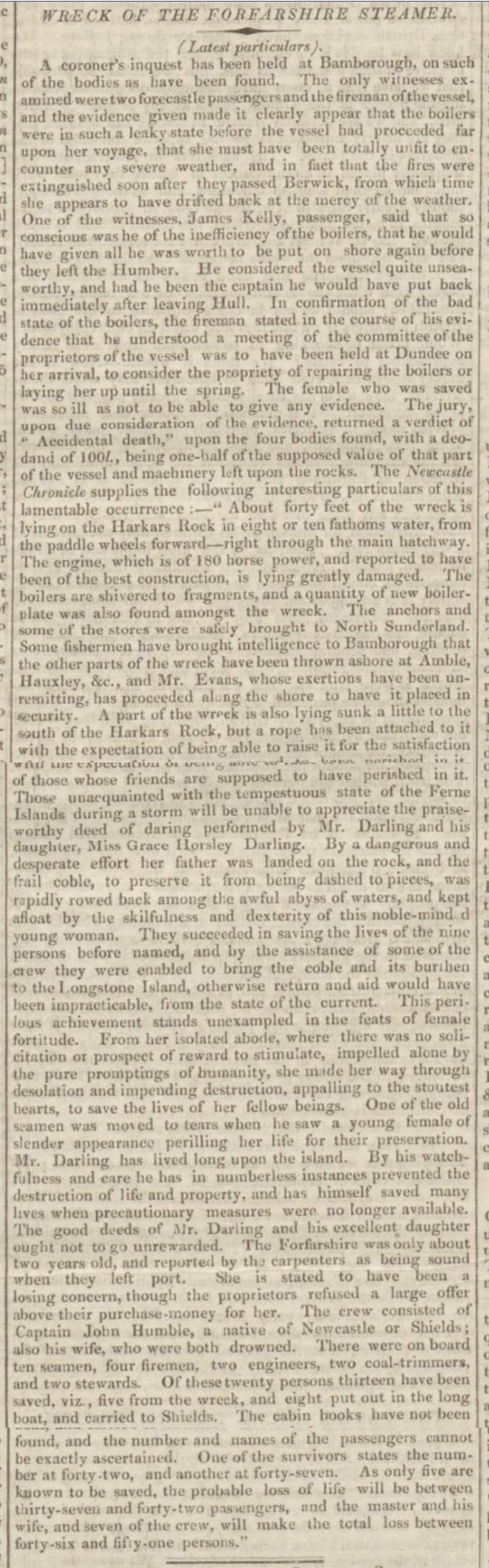 historical newspaper report on grace darling