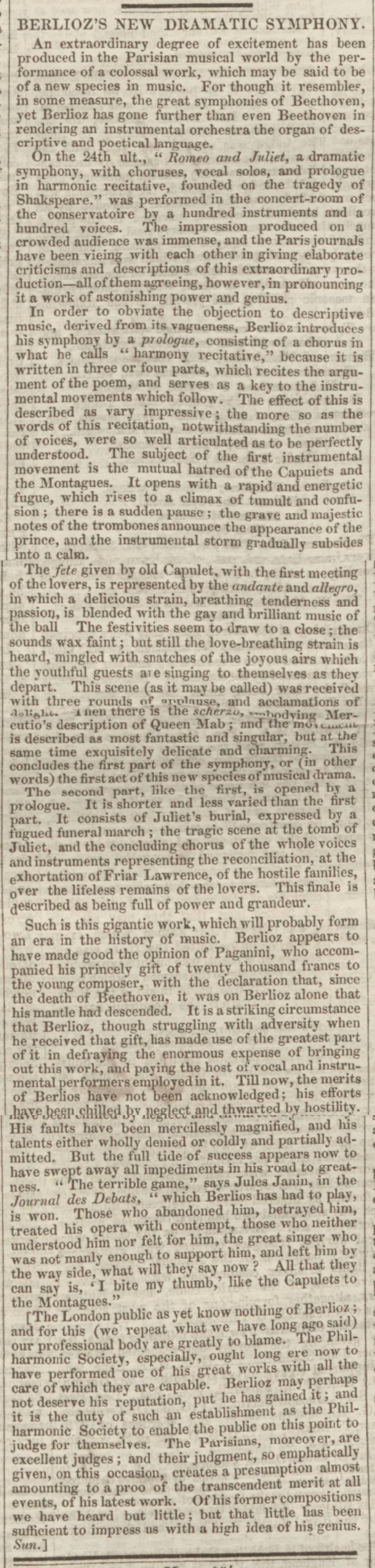 historical newspaper report on hector berlioz