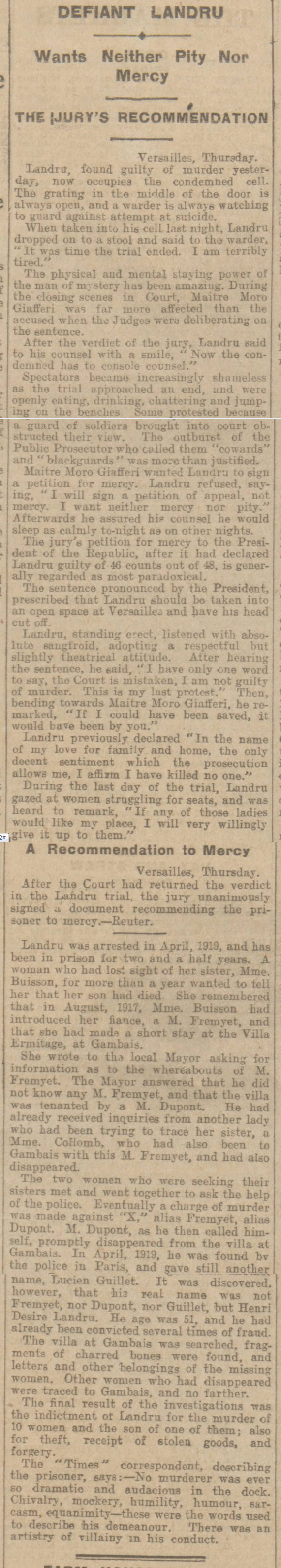 historical newspaper report on Henri Desire Landru