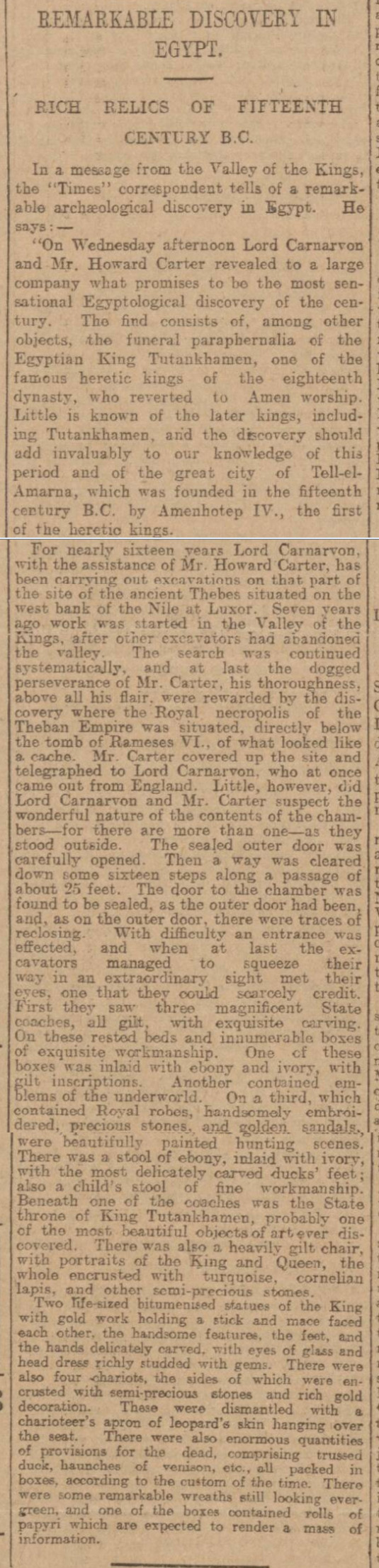 historical newspaper report on howard carter