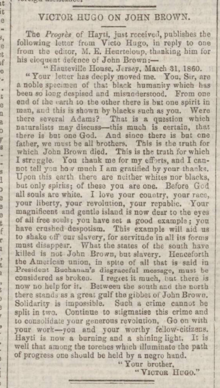 historical newspaper report on The Execution of John Brown