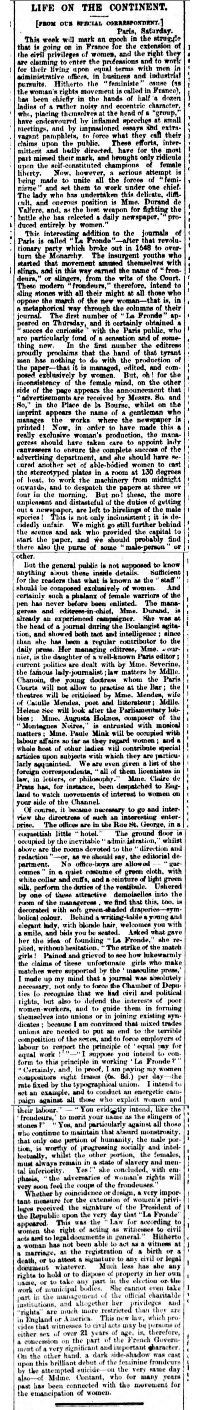 historical newspaper report on Marguerite Durand