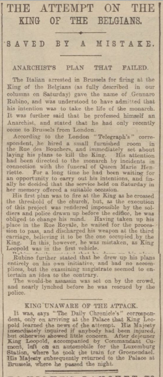 historical newspaper report on The Attempt to Assassinate King Leopold II of Belgium and the Arrest of Keir Hardie