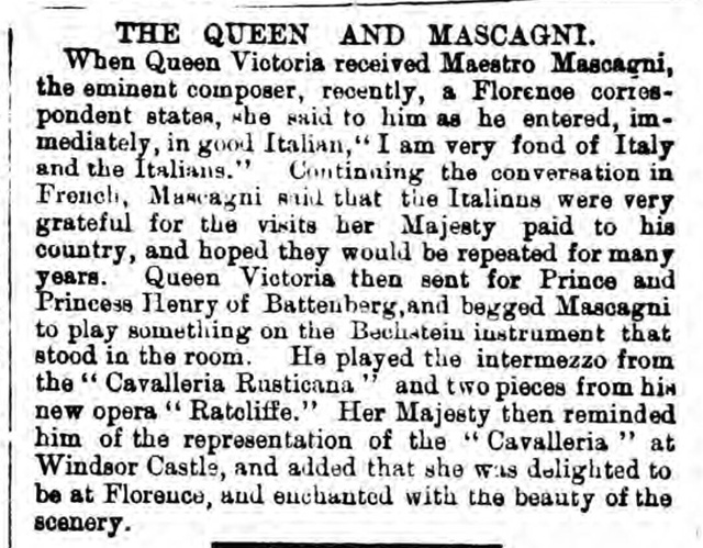 historical newspaper report on Pietro Mascagni