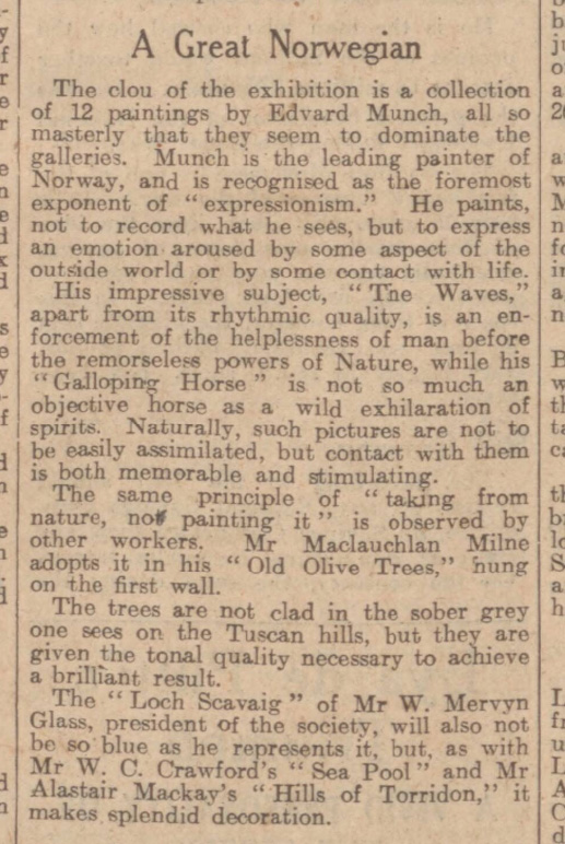 historical newspaper report on edvard munch