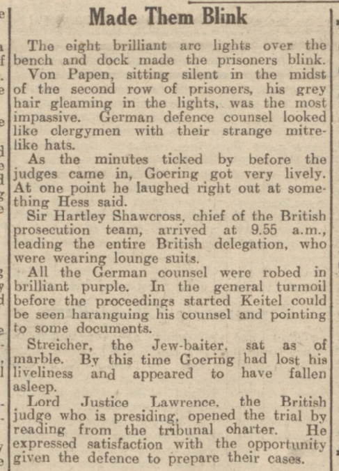 historical newspaper reports on the war crimes trials at nuremberg