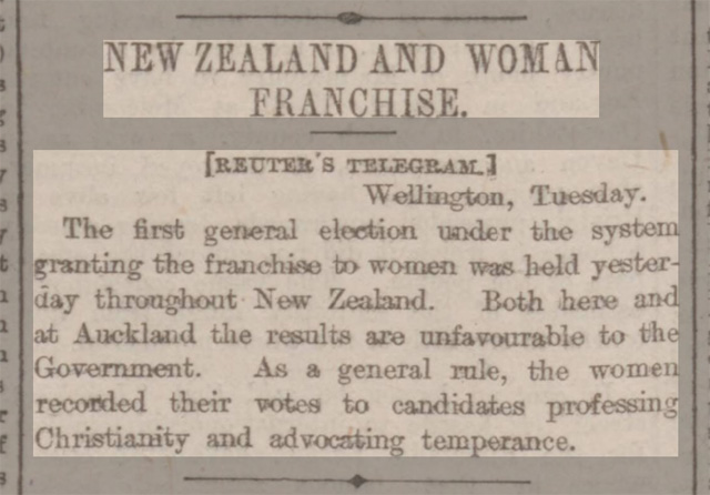 historical newspaper reports on Women in New Zealand Vote in the General Election of 28 November 1893