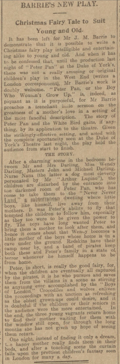 historical newspaper report on peter pan