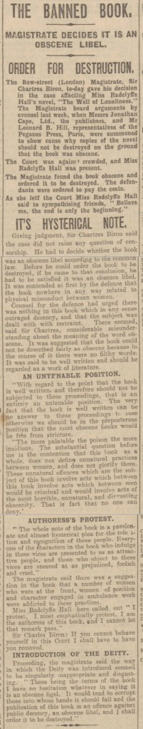 Newspaper article, Hull Daily Mail, banned book