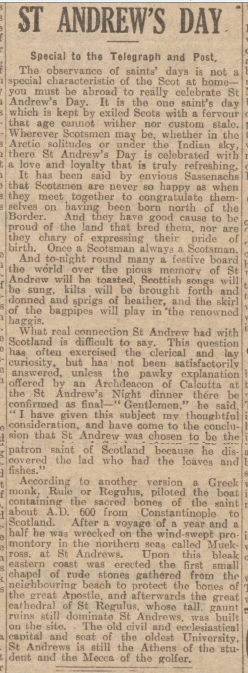 historical newspaper report on saint andrew