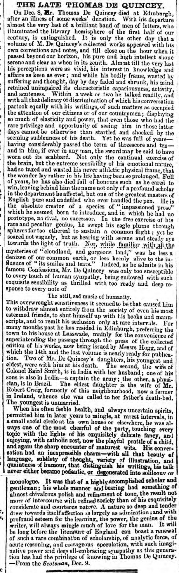historical newspaper report on thomas de quincey