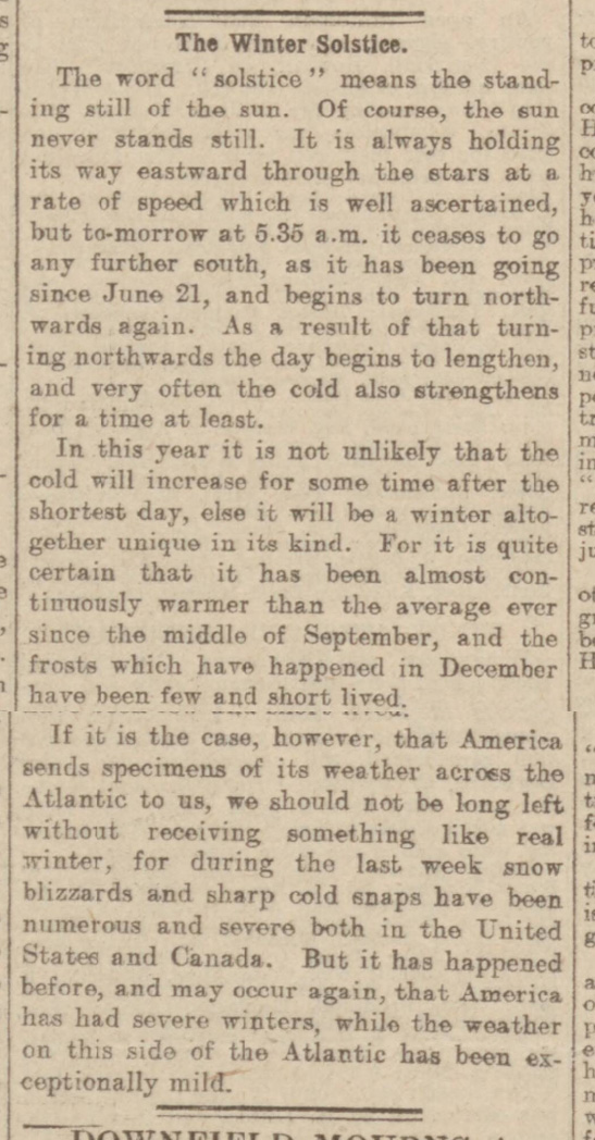 historical newspaper report on winter solstice