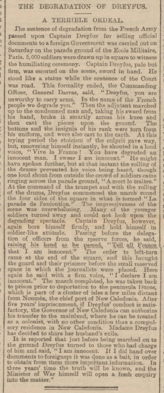 historical newspaper report on alfred dreyfus