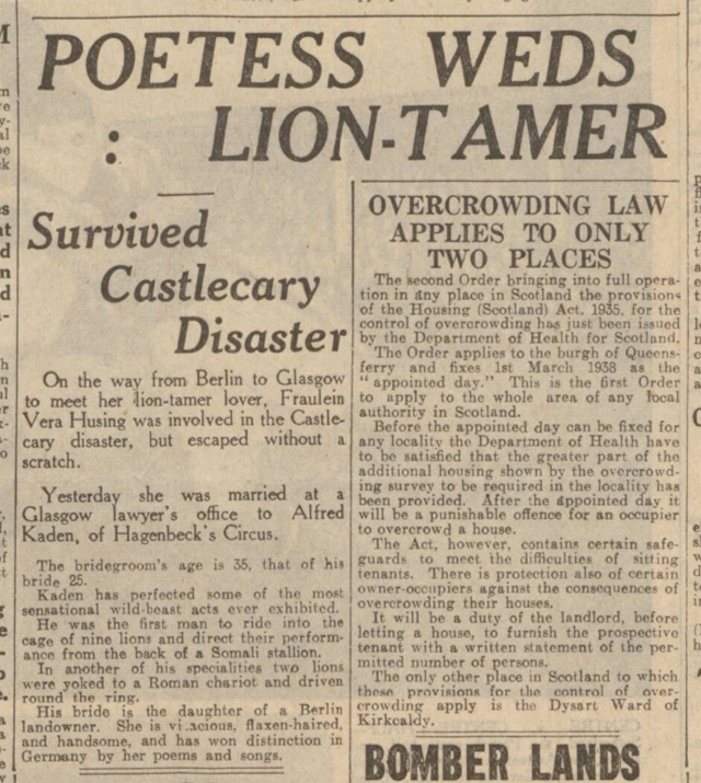 historical newspaper report on wedding