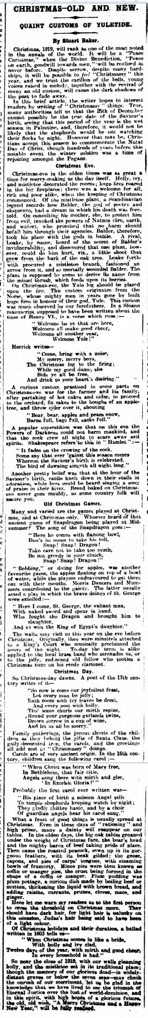 historical newspaper report on christmas