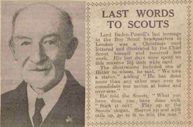 Baden-Powell's final words to the Boy Scouts