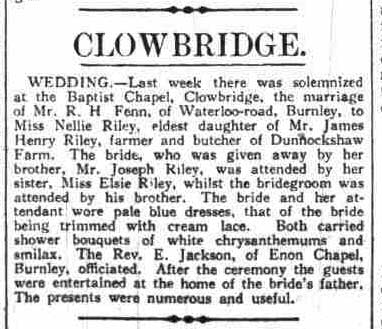 A 1916 wedding reported in the Burnley News
