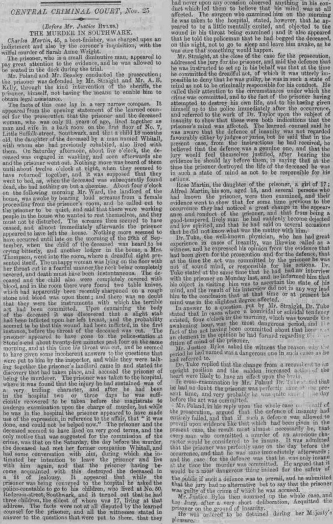 Article from the London Standard, 1869