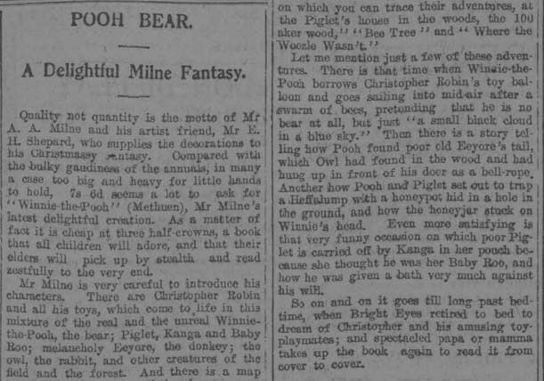 Review of Winnie-the-Pooh in the Aberdeen Journal