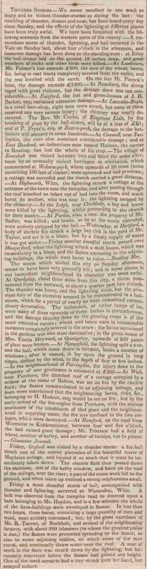 Thunder storms reported in 1831