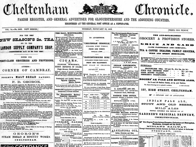 The Cheltenham Chronicle, searchable at The British Newspaper Archive