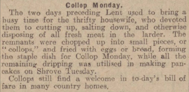 Collop Monday, the day before Shrove Tuesday