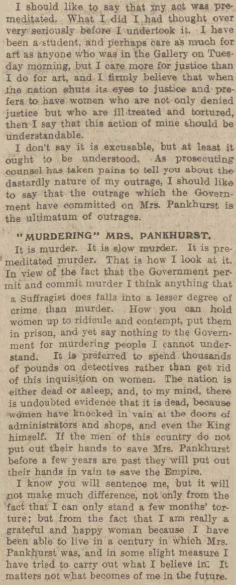 Suffragette Mary Richardson explains why she damaged the Rokeby Venus
